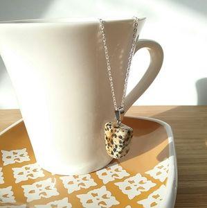 Dalmatian Jasper Irregular Stone Pendant Necklace